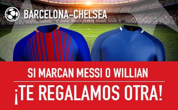 Sportium: Barça vs. Chelsea. Si Messi o Willian marcan… ¡Te damos otra!