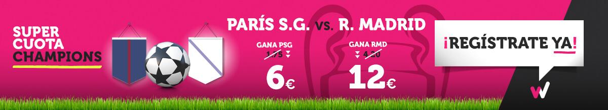 Wanabet: ¿PSG @6.0 vs. Real Madrid @12.0? + 200€