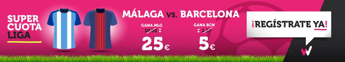 Wanabet: ¿Málaga @25.0 vs. Barça @5.0? + 200€