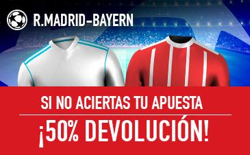 Sportium: Real Madrid vs. Bayern Munich. Si fallas… ¡¡¡DEVOLUCIÓN!!!