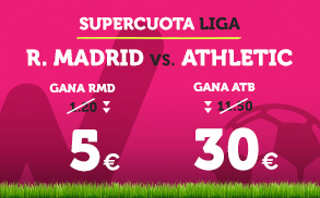 Wanabet: ¿Madrid @5.0 vs. Ath. Bilbao @30.0? + 200€