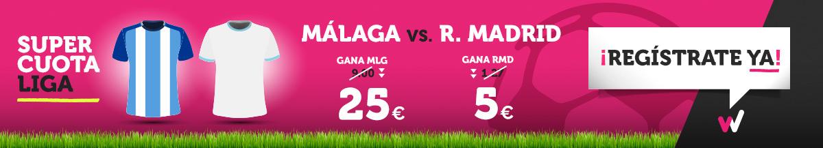 Wanabet: ¿Málaga @25.0 vs. Madrid @5.0? + 200€