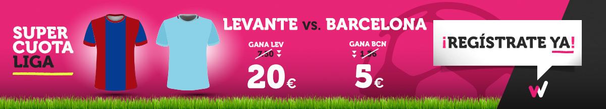 Wanabet: ¿Levante @20.0 vs. Barça @5.0? + 200€