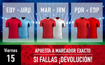 Sportium: Mundial – Viernes 15. Apuesta a 'Marcador Exacto'… Si fallas ¡Devolución!