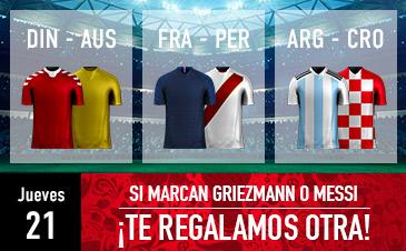 Sportium: Mundial – Jueves 21. Si marcan Messi o Griezman ¡Devolución!