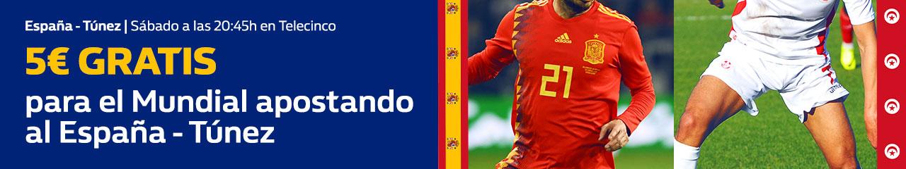 William Hill: España vs. Túnez. Apuesta 10€ y llévate 5€ para el España vs. Marruecos