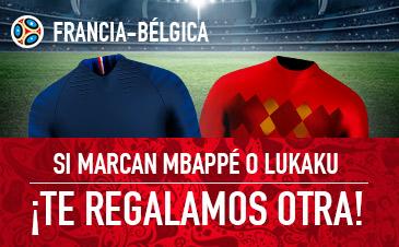 Sportium: Francia vs. Bélgica. Si marcan Mbappé o Lukaku ¡Devolución!