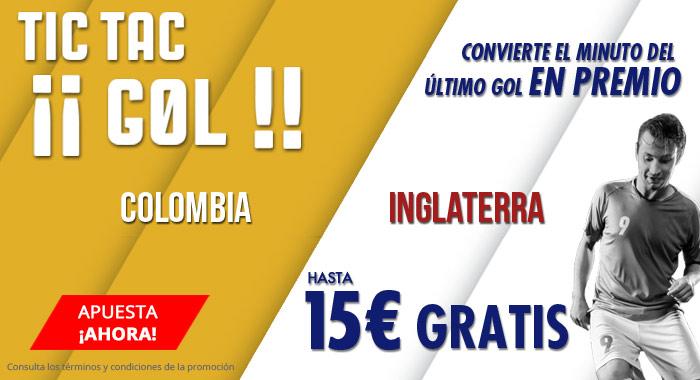 Suertia: Colombia vs. Inglaterra. Apuesta y llévate hasta 10€ GRATIS