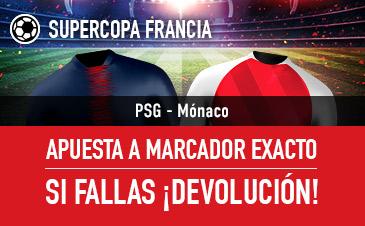 Sportium: PSG vs. Mónaco. Apuesta a 'Marcador Exacto'… Si fallas ¡Devolución!