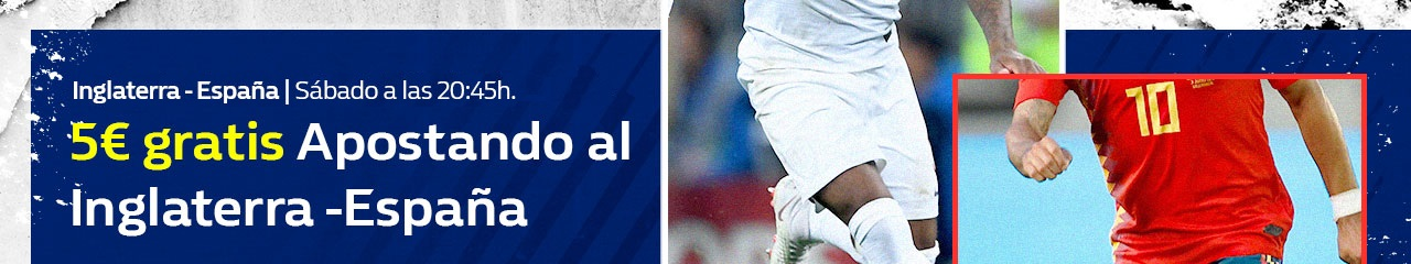 William Hill: Inglaterra vs España. Apuesta 5€ y llévate 5€ GRATIS