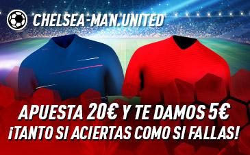 Sportium: Chelsea vs. Man. United. Apuesta y te damos 5€ ¡¡¡GRATIS!!!