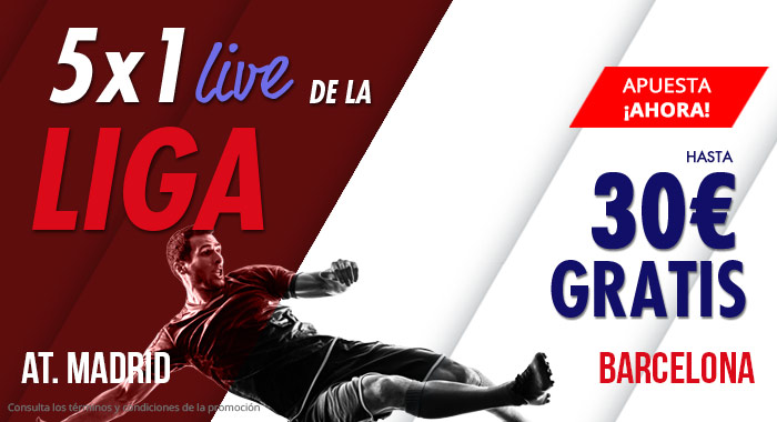 Suertia: At. Madrid vs. Barça. Llévate hasta 30€ GRATIS apostando en vivo