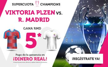 Wanabet: Viktoria Plzen vs. Real Madrid @5.0 + 200€