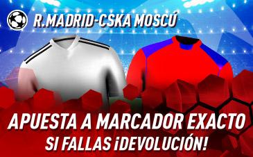 Sportium: Madrid vs. CSKA. Apuesta a 'Marcador Exacto'… Si fallas ¡Devolución!