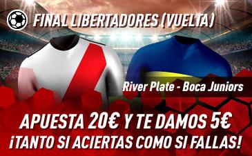 Sportium: River vs. Boca (Vuelta). Haz tú apuesta y te damos 5€ ¡¡¡GRATIS!!!