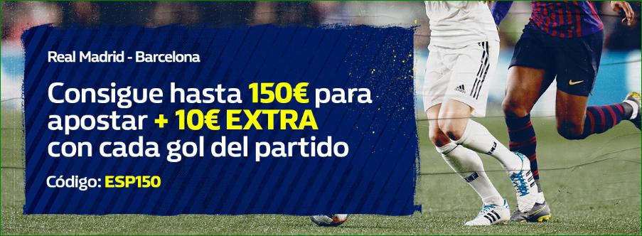 William Hill: Regístrate y llévate hasta 150€ + 10€ por cada gol en el Madrid vs. Barça