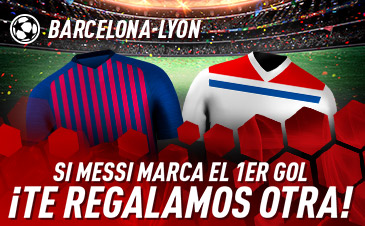 Sportium: Barça vs. Lyon. Si Messi marca el primer gol ¡Devolución!