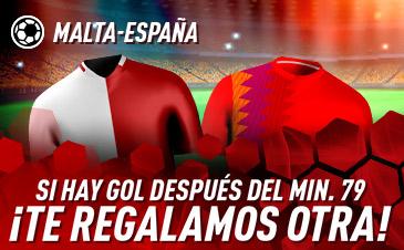 Sportium: Malta vs. España. Si hay gol después del min 79 ¡DEVOLUCIÓN!