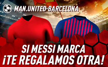 Sportium: Man. United vs. Barça. Si Messi marca, te damos hasta 10€ GRATIS