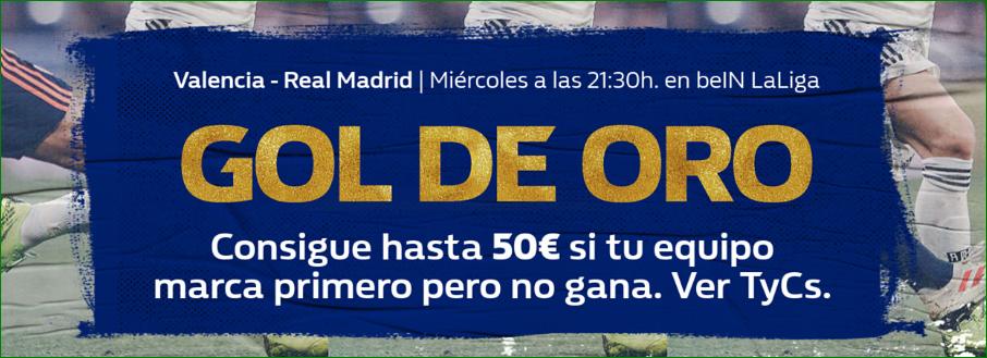 William Hill: Valencia vs. Madrid. Llévate hasta 50€ si tu equipo pierde