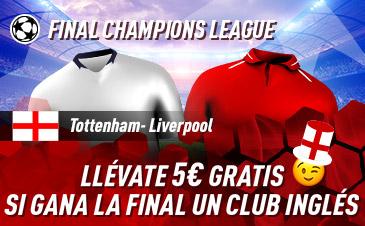 Sportium: Tottemhan vs. Liverpool. Si gana un club inglés, 5€ GRATIS