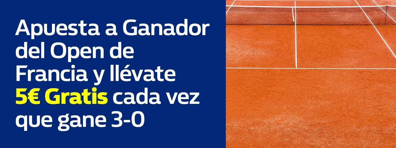 William Hill: Roland Garros. Si tú favorito gana 3-0, 5€ GRATIS