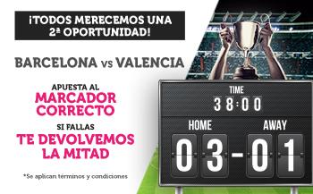Wanabet: FC Barcelona vs. Valencia. Apuesta a marcador correcto y si fallas… ¡Devolución!