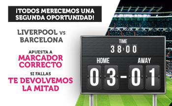 Wanabet: Liverpool vs. FC Barcelona. Apuesta a marcador correcto y si fallas… ¡Devolución!