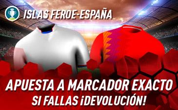 Sportium: Islas Feroe vs. España. Apuesta a 'Marcador Exacto'… Si fallas ¡Devolución!