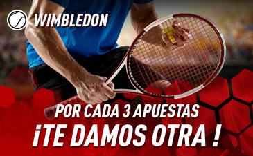Sportium: Wimbledon. Por cada 3 apuestas, te damos otra ¡GRATIS!