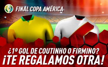 Sportium: Brasil vs. Perú. Si Coutinho o Firmino marcan el 1.º gol ¡Devolución!