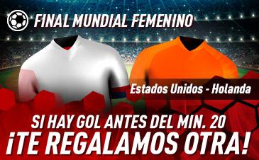 Sportium: Estados Unidos vs. Holanda. Si hay gol antes del minuto 20 ¡DEVOLUCIÓN!