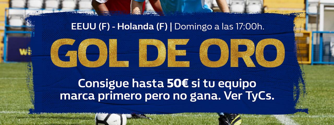 William Hill: Estados Unidos vs. Holanda. Llévate hasta 50€ si tu equipo pierde