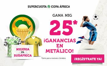 Wanabet: Nigeria @25.0 vs Sudáfrica + 100€
