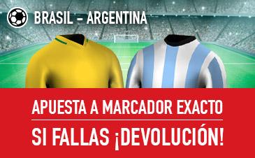 Sportium: Brasil vs. Argentina. Apuesta a 'Marcador Exacto'… Si fallas ¡Devolución!