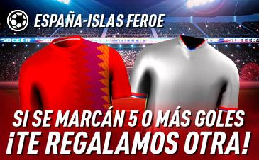 Sportium: España vs. Islas Feroe. Si se marcan 5 o más goles ¡Devolución!
