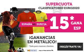 Wanabet: España @15.0 vs. Suecia + 100€