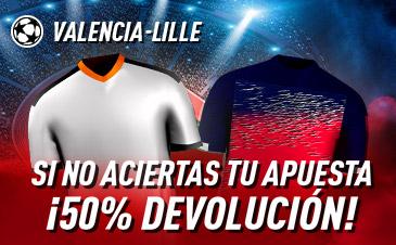 Sportium: Valencia vs. Lille. Si fallas 50% DEVOLUCIÓN
