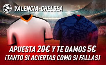 Sportium: Valencia - Chelsea. Haz tú apuesta y te damos 5€ ¡¡¡GRATIS!!!
