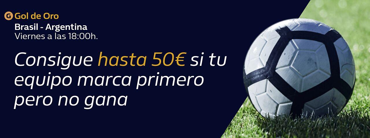 William Hill: Brasil vs. Argentina. Llévate hasta 50€ si tu equipo pierde