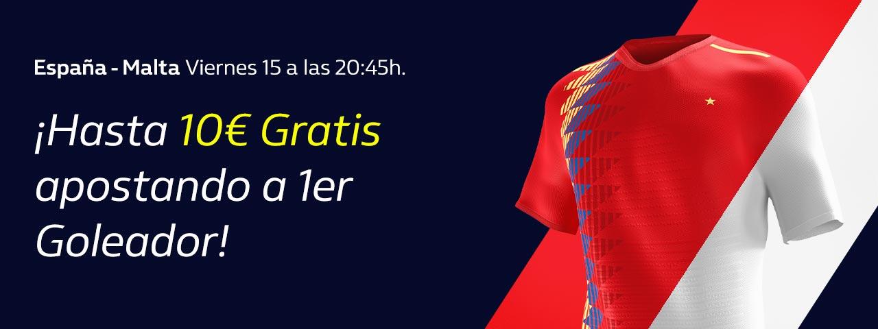 William Hill: España vs. Malta. Apuesta a 1er Goleador y llévate 10€ GRATIS