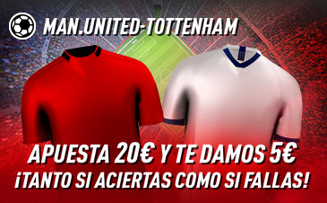 Sportium: Man.United-Tottenham. Haz tú apuesta y te damos 5€ ¡¡¡GRATIS!!!